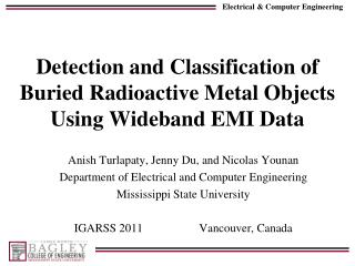 Detection and Classification of Buried Radioactive Metal Objects Using Wideband EMI Data