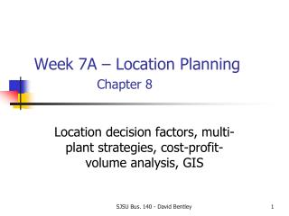 Week 7A � Location Planning Chapter 8