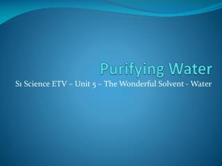 Purifying Water