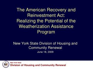 New York State Division of Housing and Community Renewal June 18 ,  2009
