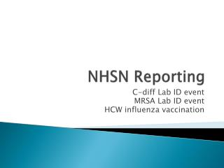 NHSN Reporting