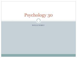 Psychology 30
