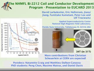 T he  NHMFL  Bi-2212  Coil and Conductor Development  Program -  Presentation to  EUCARD 2013