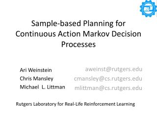 Sample-based Planning for Continuous Action Markov Decision Processes