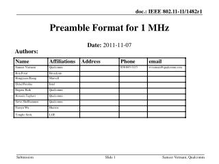 Preamble Format for 1 MHz
