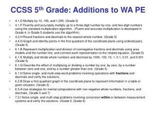 CCSS 5 th  Grade: Additions to WA PE