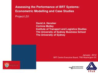 Assessing the Performance of BRT Systems: Econometric Modelling and Case Studies