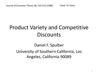 Product Variety and Competitive Discounts