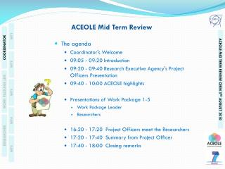 ACEOLE Mid Term Review