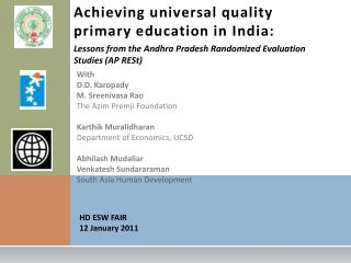 Achieving universal quality  primary education in India: