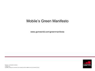 Mobile's Green Manifesto