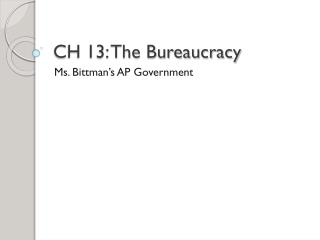 CH 13: The Bureaucracy
