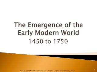 The Emergence of the Early Modern World