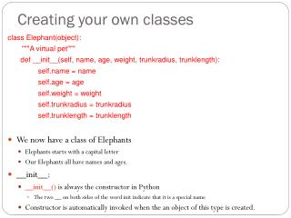 Creating your own classes