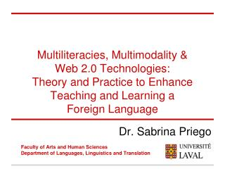 Dr.  Sabrina Priego Faculty  of Arts and  Human  Sciences