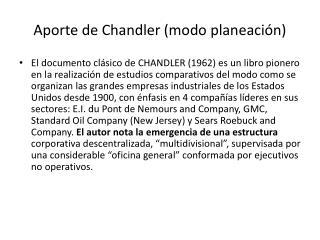 Aporte de Chandler (modo planeación)