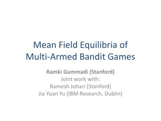 Mean Field  Equilibria  of  Multi-Armed Bandit Games