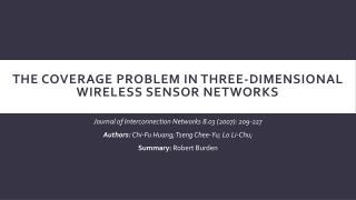 The Coverage Problem in Three-Dimensional Wireless Sensor Networks