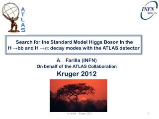 Farilla  (INFN) On  behalf of  the ATLAS  Collaboration Kruger 2012