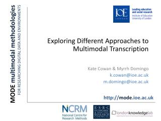MODE  multimodal methodologies FOR RESEARCHING DIGITAL DATA AND ENVIRONMENTS