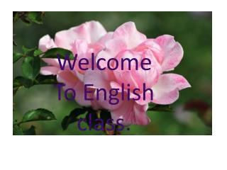 Welcome To  E nglish class.