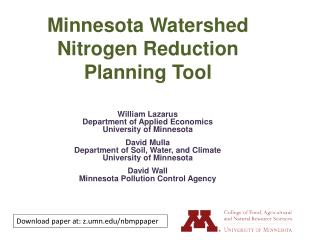 Minnesota Watershed Nitrogen Reduction Planning Tool