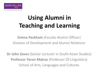 Using Alumni in  Teaching and Learning