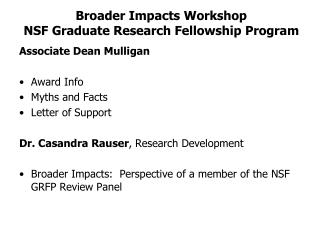 Broader Impacts Workshop NSF  Graduate Research Fellowship  Program