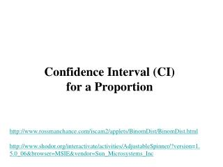 Confidence Interval (CI) for a Proportion