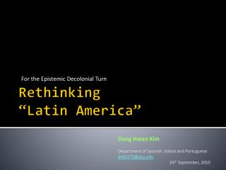 "Rethinking ""Latin America"""