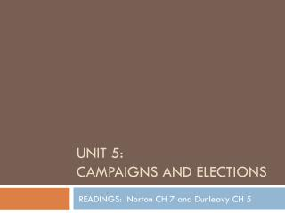 UNIT 5:  Campaigns and Elections