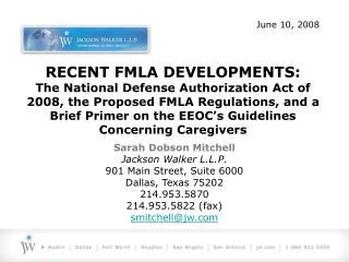 RECENT FMLA DEVELOPMENTS: The National Defense Authorization Act ...