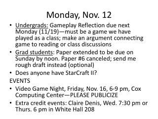 Monday, Nov. 12