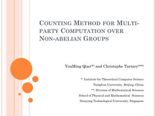 Counting Method for Multi-party Computation over Non-abelian Groups