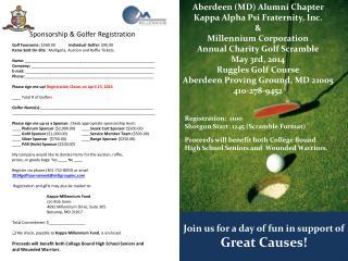 Golf Foursome:  $360.00               Individual Golfer:  $90.00