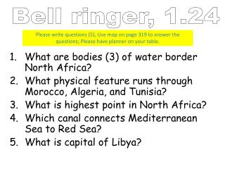 What are bodies (3) of water border North Africa?