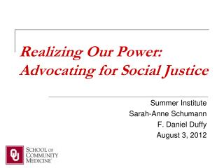 Realizing Our Power: Advocating for Social Justice