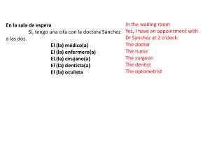 En la sala de  espera  Sí, tengo una cita con la doctora Sánchez a las dos. El (la) médico(a)