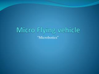 Micro Flying vehicle