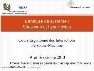 L'analyse de système : Sites web et hypertextes