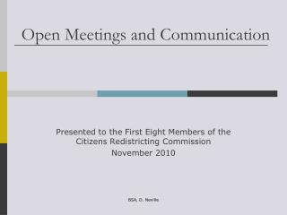 Open Meetings and Communication