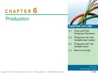 6.1 Firms and Their Production Decisions 6.2 Production with One Variable Input (Labor)