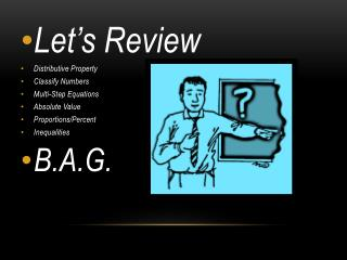 Let�s Review Distributive Property Classify Numbers Multi-Step Equations Absolute Value