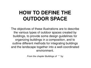 How to define outdoor space