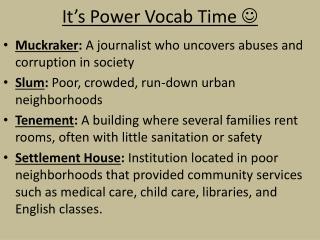 It's Power  Vocab  Time  