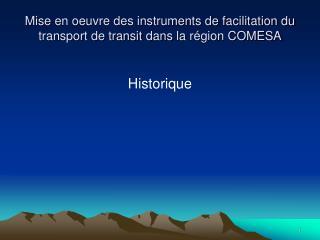Mise  en oeuvre des instruments de facilitation du transport de transit  dans  la  région  COMESA