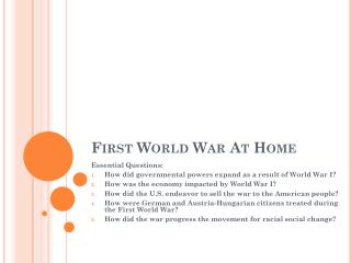 First World War At Home