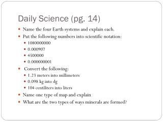 Daily Science (pg. 14)
