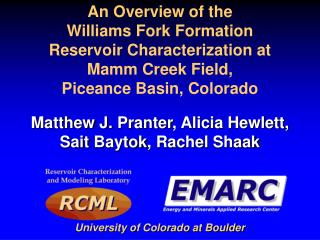 An Overview of the Williams Fork Formation  Reservoir Characterization at  Mamm  Creek Field,