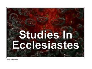 Studies In Ecclesiastes
